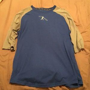 Blue and Gray Nike Fitness Baseball Tee